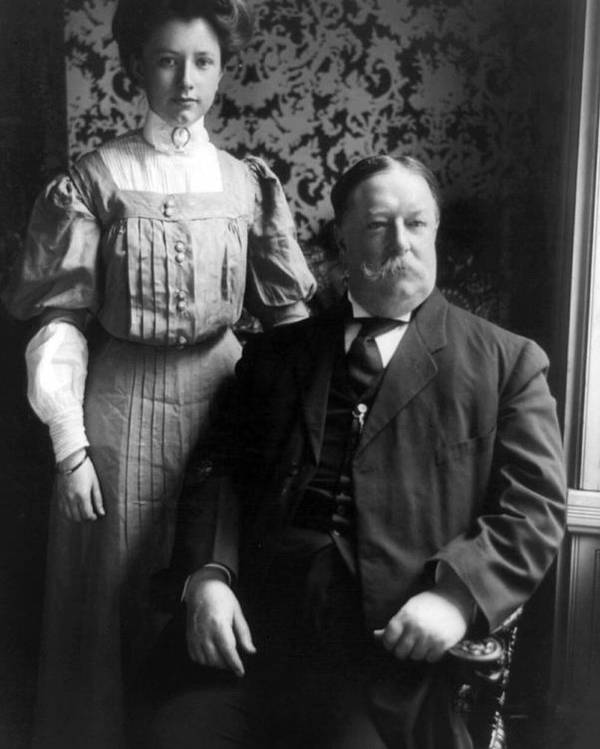 william Howard Taft Poster featuring the photograph President William Howard Taft With Daughter by International Images