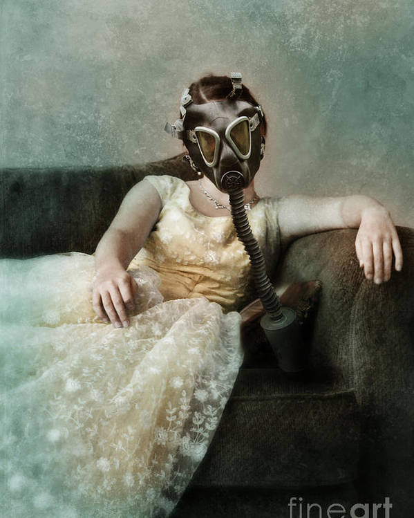 Lady Poster featuring the photograph Princess In Gas Mask 2 by Jill Battaglia