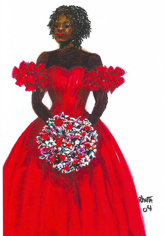 Woman Poster featuring the painting Prom Queen by Rhetta Hughes