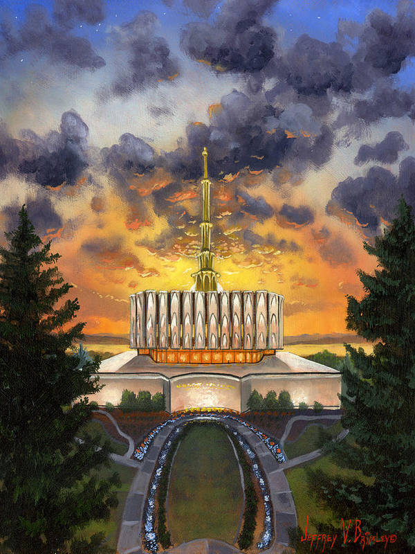 Jeff Poster featuring the painting Provo Temple Evening by Jeff Brimley