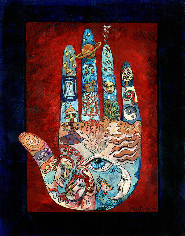 Psychic Poster featuring the painting Psychic Hand by Mary DeLave