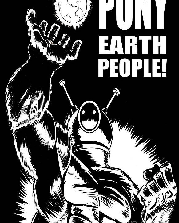Ben Von Strawn Poster featuring the drawing Puny Earth People by Ben Von Strawn