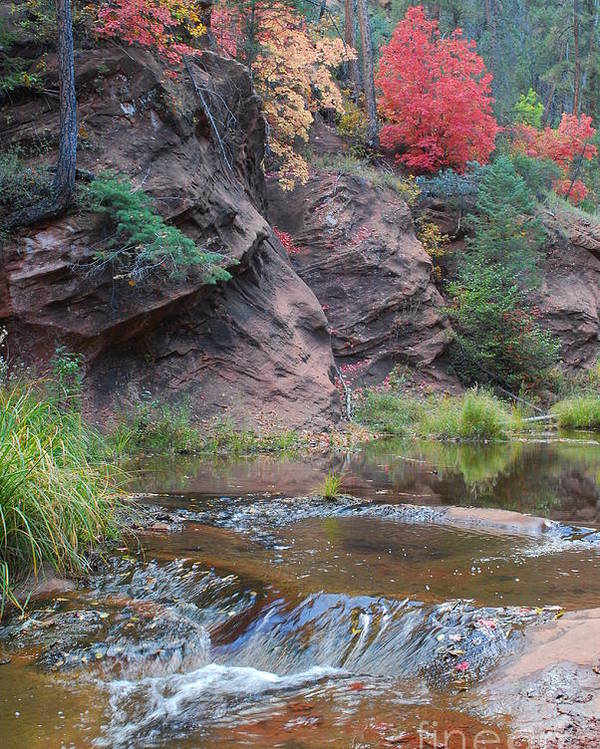 Sedona Poster featuring the photograph Rainbow Of The Season And River Over Rocks by Heather Kirk