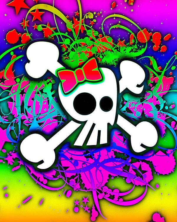 Rainbow Poster featuring the digital art Rainbow Skull 1 Of 6 by Roseanne Jones