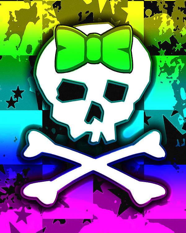 Rainbow Poster featuring the digital art Rainbow Skull 4 Of 6 by Roseanne Jones