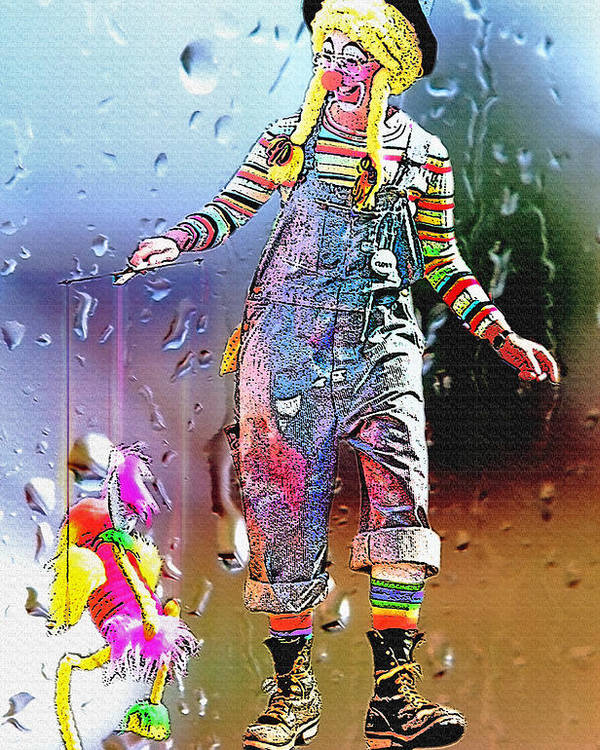Abstract Poster featuring the photograph Rainy Day Clown 3 by Steve Ohlsen