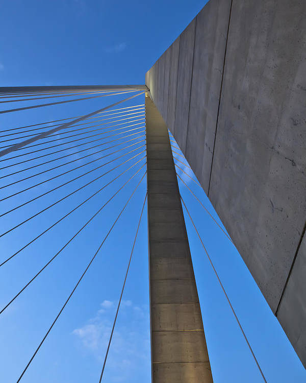 Ravenel Bridge Charleston Poster featuring the photograph Ravenel Overhead Day - Vertical by Donni Mac