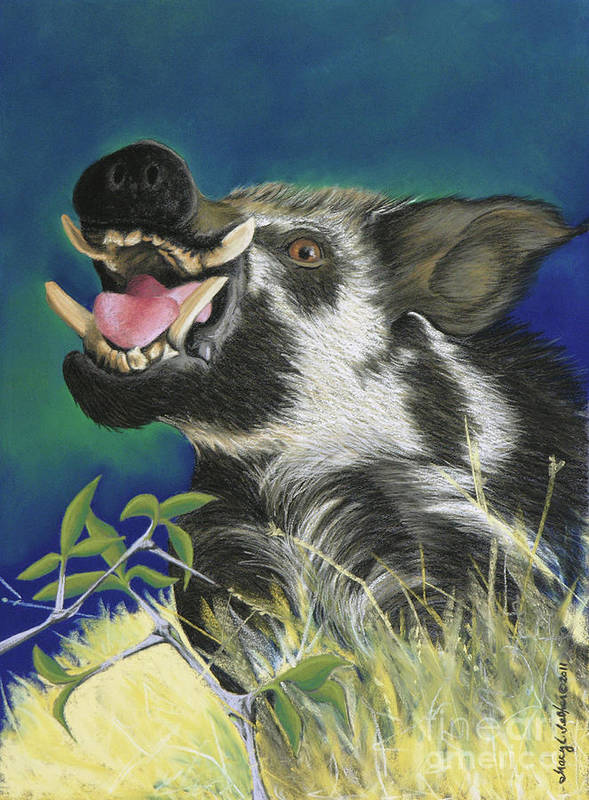 Arkansas Poster featuring the pastel Razorback by Tracy L Teeter