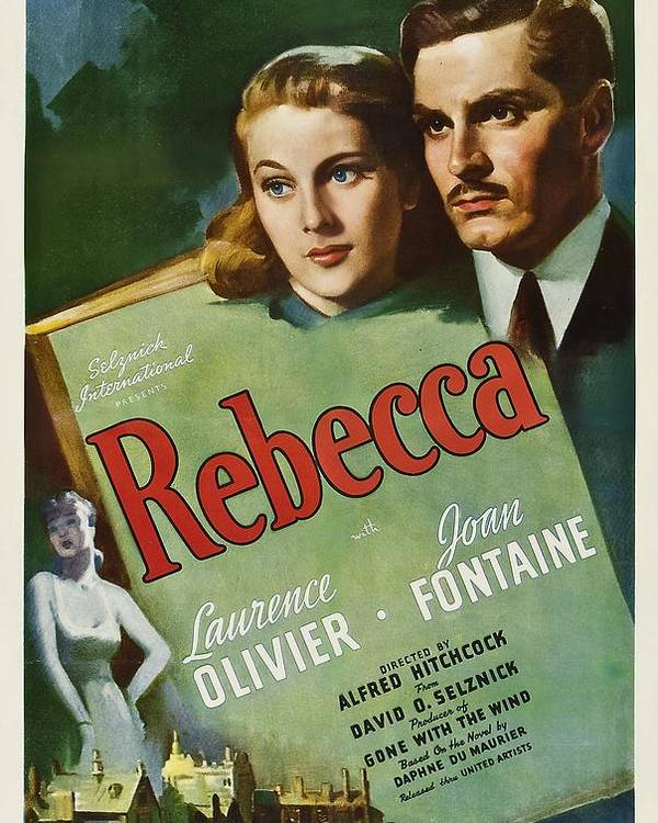 1940 Movies Poster featuring the photograph Rebecca, Joan Fontaine, Laurence by Everett