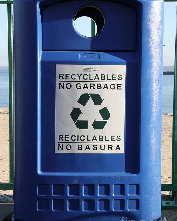 Recycling Poster featuring the photograph Recycling Bin by Photo Researchers, Inc.