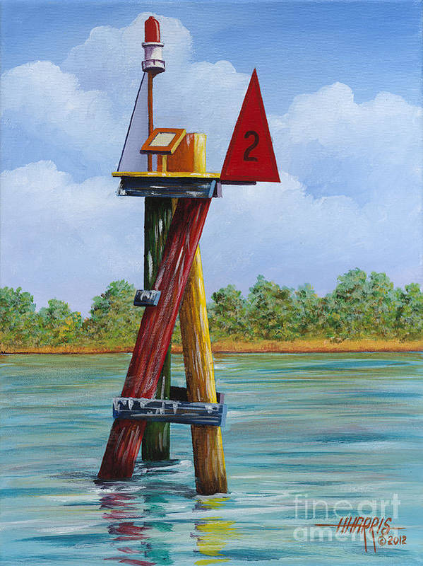Landscape Poster featuring the painting Red Channel Marker by Hugh Harris
