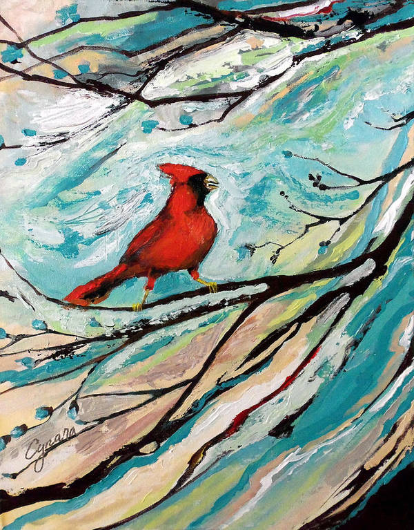 Redbird Poster featuring the painting Red Fury by Cynara Shelton