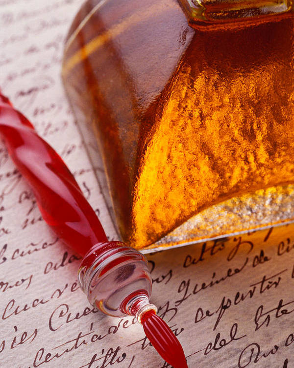 Glass Pen Poster featuring the photograph Red Glass Pen by Garry Gay
