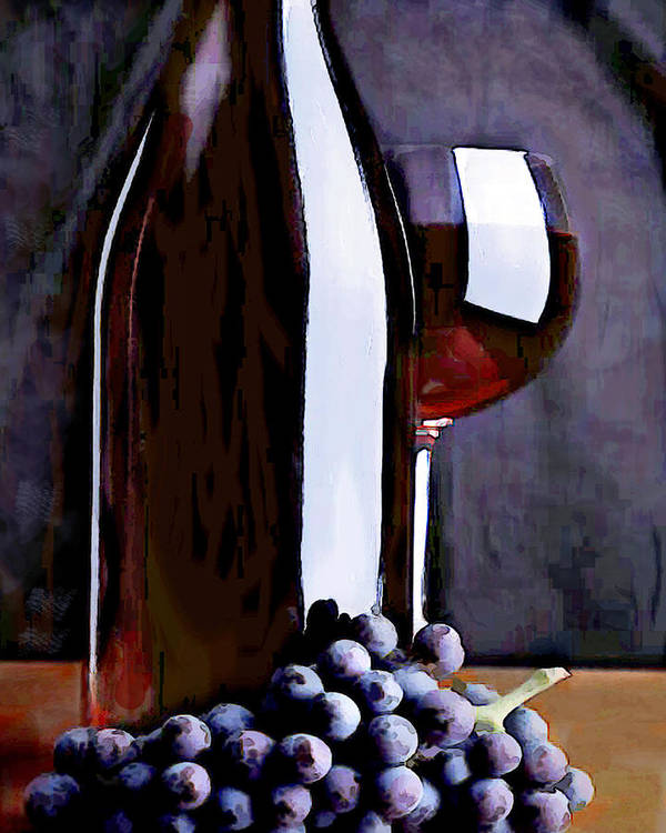 Wine Poster featuring the painting Red In The Shadows by Elaine Plesser