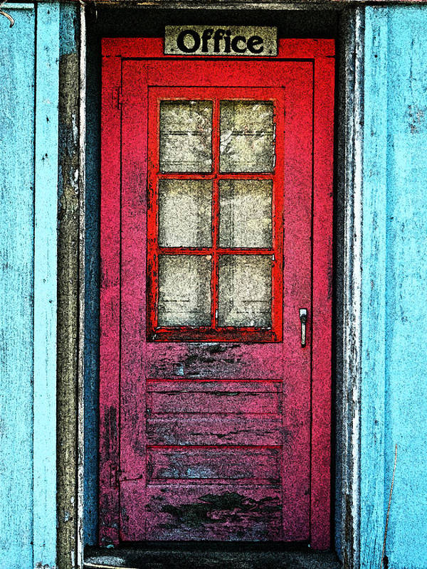 Red Office Poster featuring the photograph Red Office by Cyryn Fyrcyd