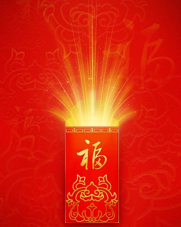 Vertical Poster featuring the digital art Red Pocket For Chinese New Year by BJI/Blue Jean Images