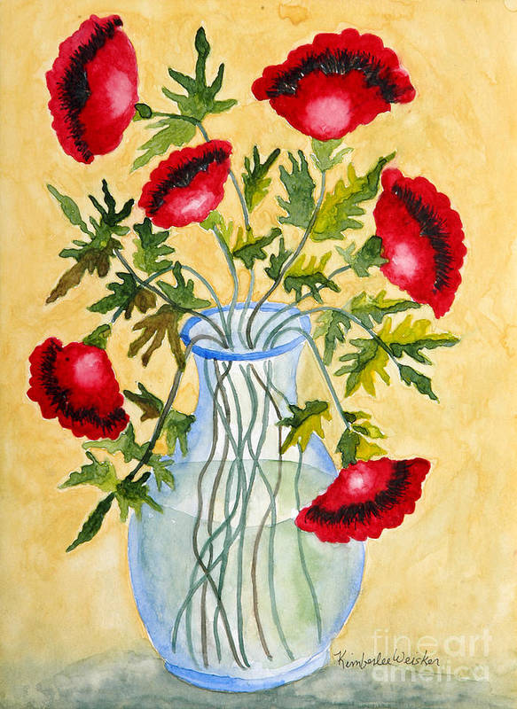 Poppies Poster featuring the painting Red Poppies In A Vase by Kimberlee Weisker