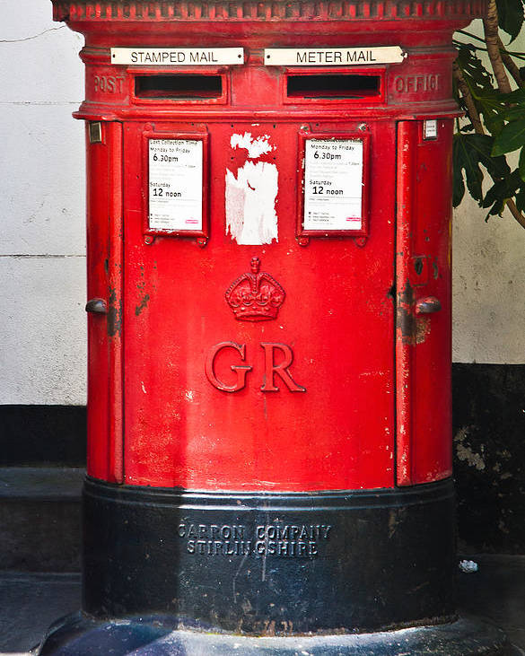 Red Post Box Poster featuring the photograph Red Post Box by Dawn OConnor