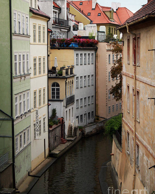 Prague Poster featuring the photograph Red Rooftops In Prague Canal by Linda Woods