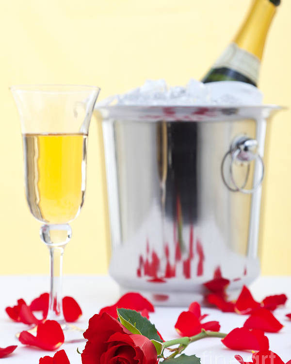 Red Poster featuring the photograph Red Rose And Champagne by Richard Thomas