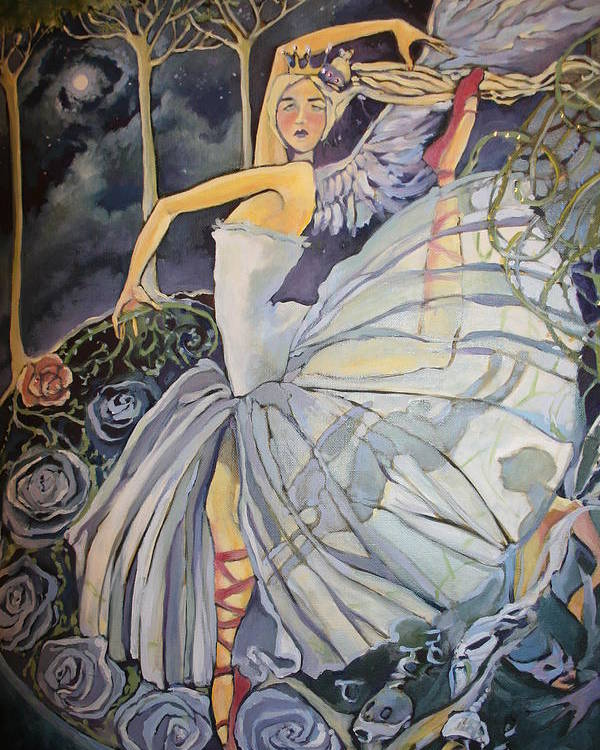 Dance Ballet Roses Poster featuring the drawing Red Shoes by Jackie Rock