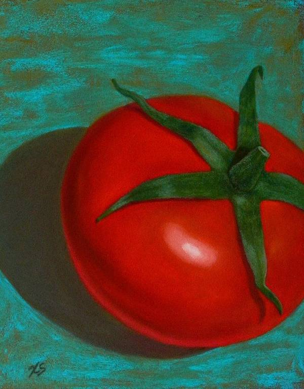 Still Life Poster featuring the painting Red Tomato by Xenia Sease