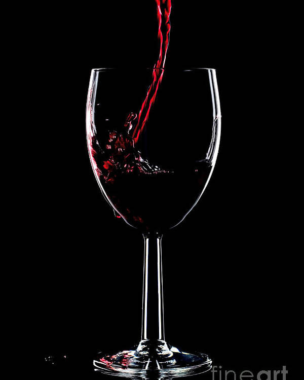 Red Poster featuring the photograph Red Wine Splash by Richard Thomas