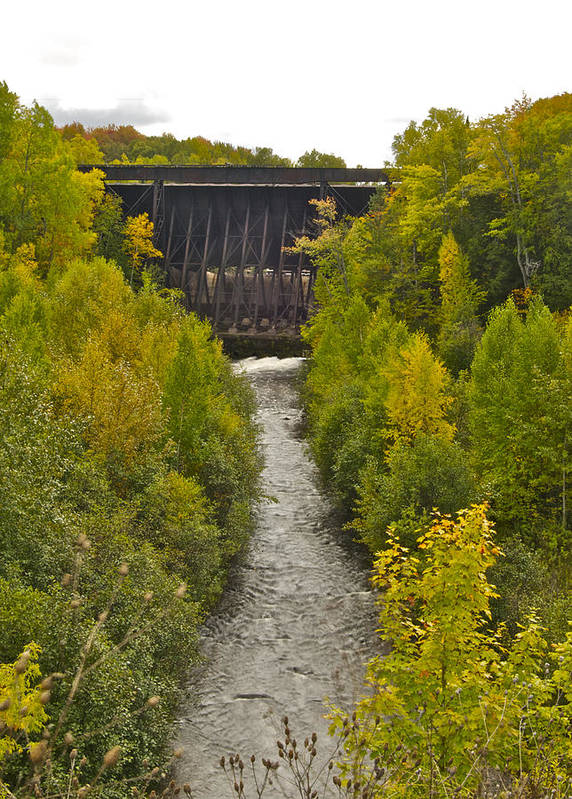 Raw Poster featuring the photograph Redridge Steel Dam 7844 by Michael Peychich