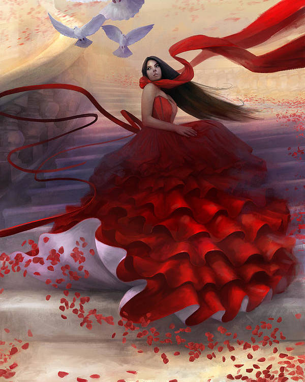 Red Dress Poster featuring the digital art Reflecting Back by Steve Goad