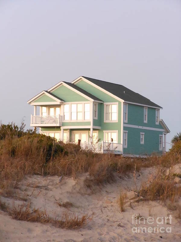 Taffy Colored Poster featuring the photograph Reflections from a Beach House by Beebe Barksdale-Bruner