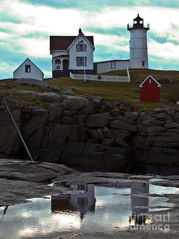 Nubble Lighthouse Poster featuring the photograph Reflections Of Nubble Lighthouse by Scott Moore