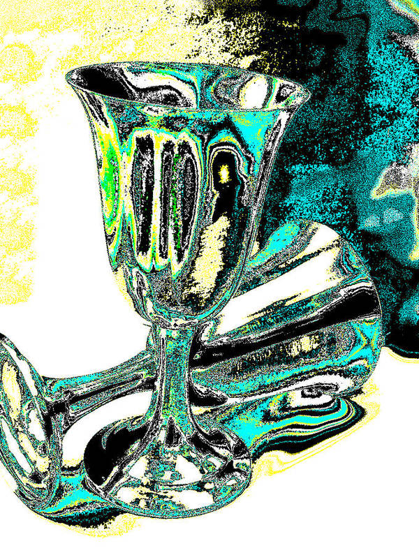 Still Life Poster featuring the photograph Renaissance Toasting Goblets Photograph And Digital Painting by EM Michael