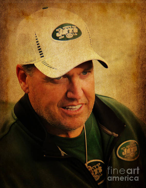 Lee Dos Santos Poster featuring the photograph Rex Ryan - New York Jets by Lee Dos Santos