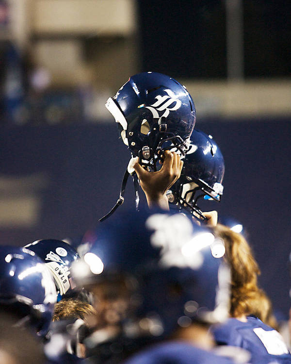 Helmet Poster featuring the photograph Rice Football Helmets by Anthony Vasser