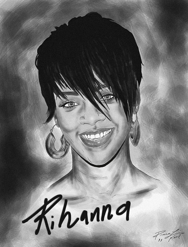 Rihanna Drawing Poster featuring the drawing Rihanna Smiles by Kenal Louis