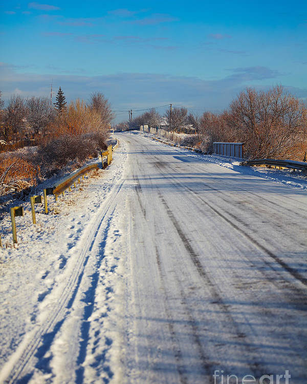 Snow Poster featuring the photograph Road In Winter by Gabriela Insuratelu