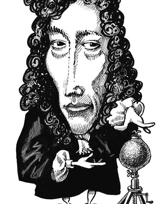 Robert Boyle Poster featuring the photograph Robert Boyle, Caricature by Gary Brown