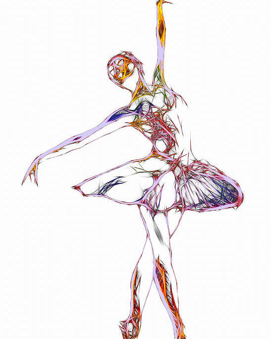 Ballet Ballerina Dance Dancing Princess Erotic Female Girl Woman Sexy Expressionism Wonderful Art Elegant Pretty Lovely Gracefully Painting Dancer Dream Electric Energy Dynamic Motion Love Lovers Dancers Abstract Robot Poster featuring the digital art Robot Diva by Steve K