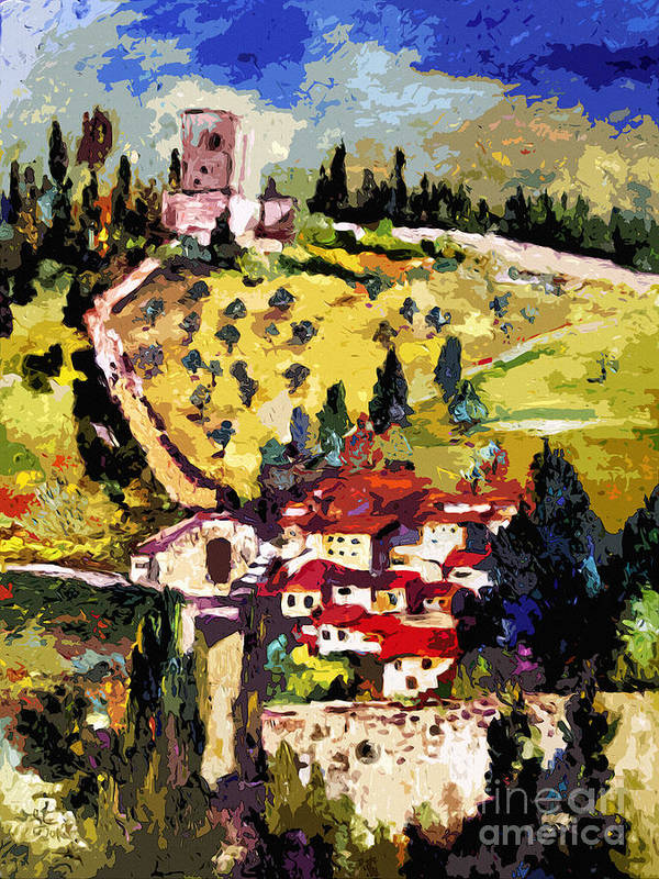 Italy Poster featuring the painting Rocca Maggiore Assisi Italy by Ginette Callaway