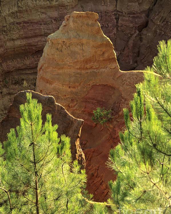 Europe Poster featuring the photograph Rocks. Ochre. Roussillon. Luberon. France. Europe by Bernard Jaubert