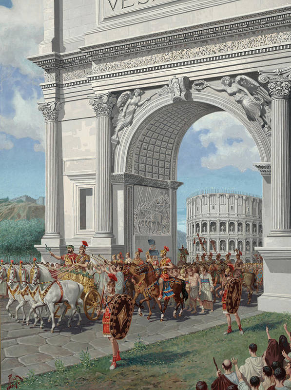 Illustration Poster featuring the photograph Roman Soldiers Lead Chained Captives by H.M. Herget
