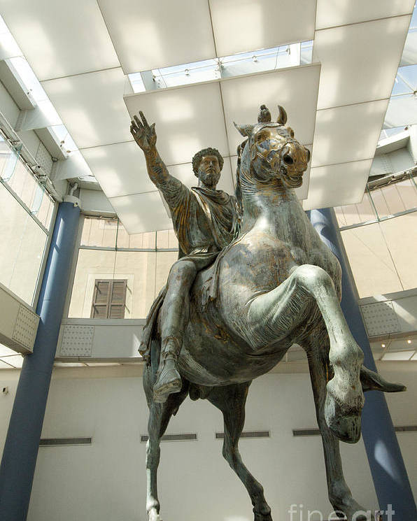 Worth Poster featuring the photograph Rome Italy. Capitoline Museums Emperor Marco Aurelio by Bernard Jaubert