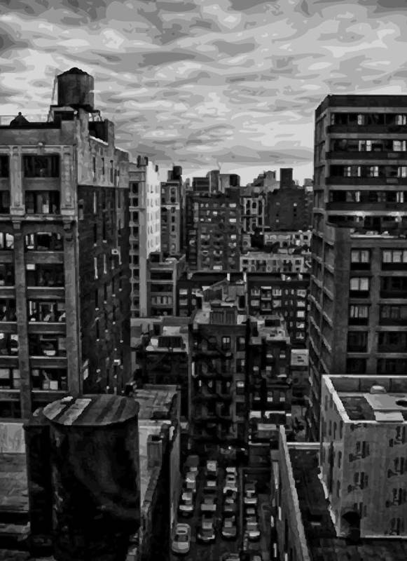 New York City Rooftop Poster featuring the photograph Rooftop Bw16 by Scott Kelley
