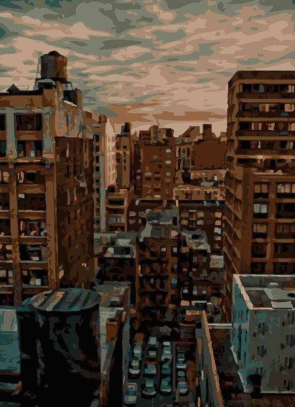 New York City Rooftop Poster featuring the photograph Rooftop Color 16 by Scott Kelley
