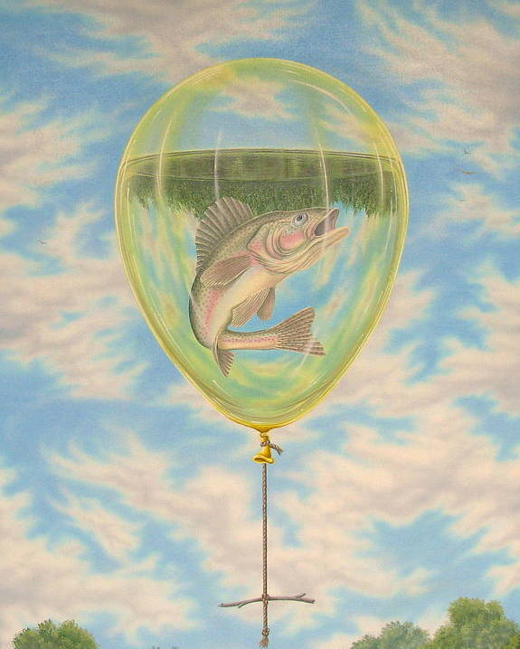 Surrealism Poster featuring the painting Rope Swing II by Arley Blankenship