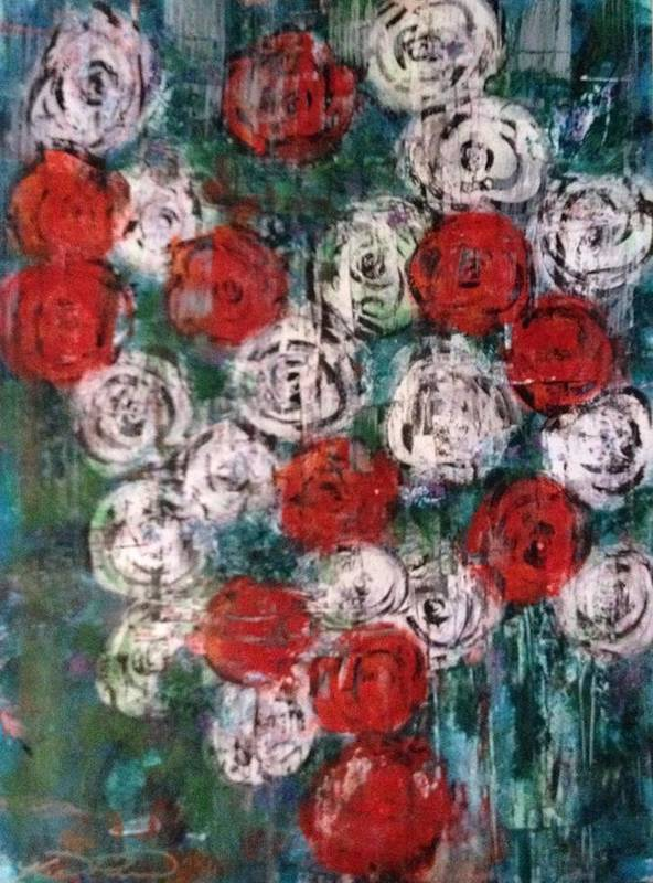 Roses Poster featuring the painting Roses by Kelli Perk