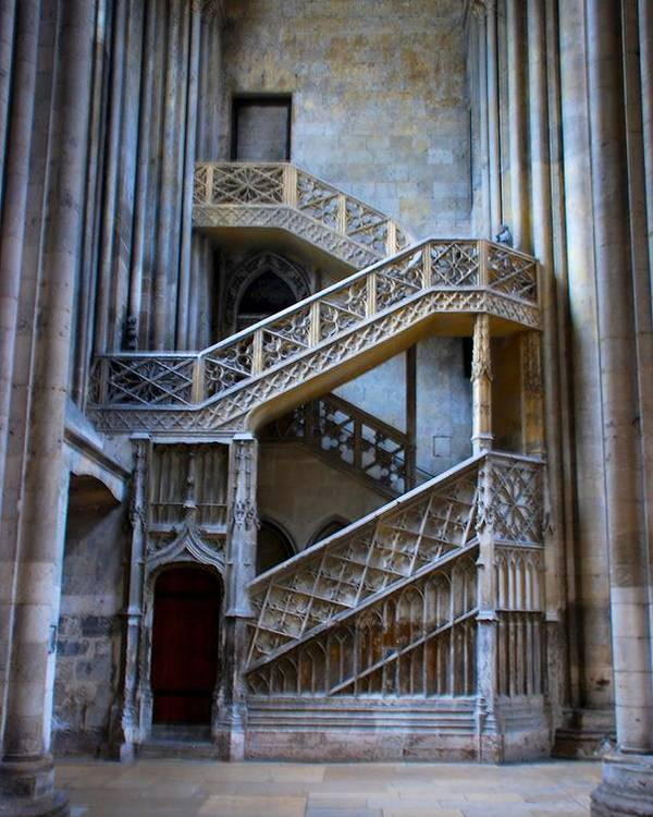 Rouen Poster featuring the photograph Rouen Cathedral Stairway by Eric Tressler