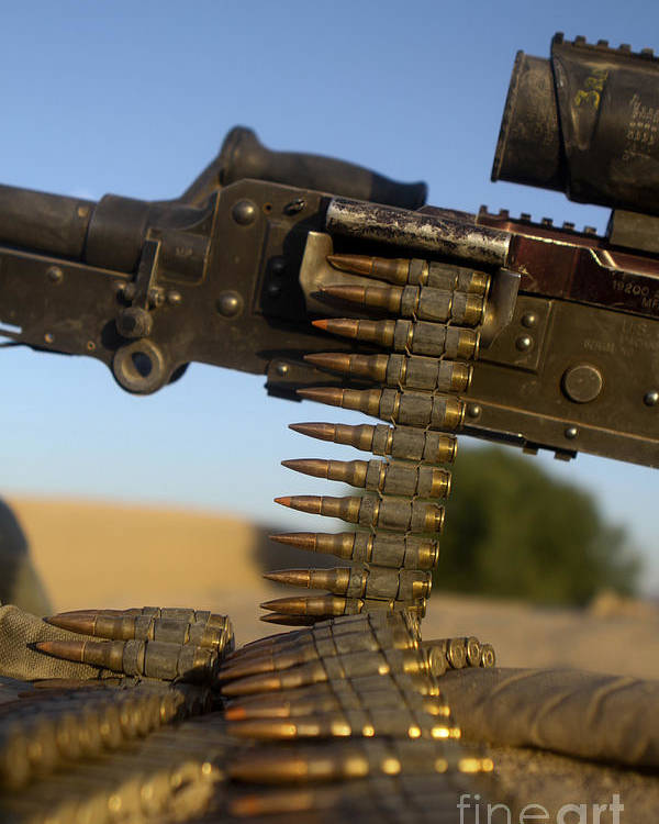 Afghanistan Poster featuring the photograph Rounds Of A M240 Machine Gun by Stocktrek Images