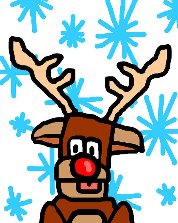 Rudolph Poster featuring the drawing Rudolph's Portrait by Jera Sky