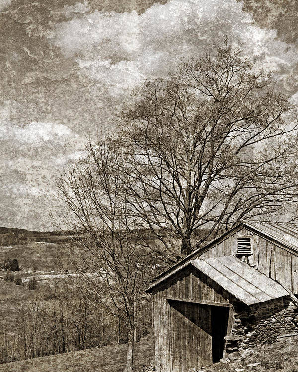 Tin Poster featuring the photograph Rustic Hillside Barn by John Stephens